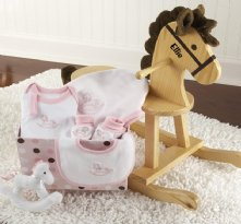 Rockabye Baby Personalized Rocking Horse with Plush Toy and Layette Gift Set (Pink)