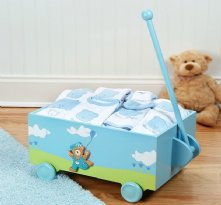 Welcome to the World Blue Baby Wagon - Ten-Piece Unique Gift Set