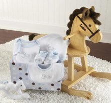 Rockabye Baby Personalized Rocking Horse with Plush Toy and Layette Gift Set (Blue)