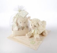 Love Ewe Plush Lamb and Lovie Gift Set in Organza-and-Satin Drawstring Bag