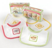 Animal Crackers for Messy Snackers 4-Piece Bib Set