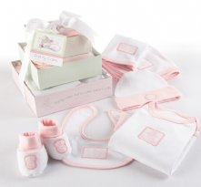 Patty Cake Six-Piece Layette Set in Keepsake Gift Box Tower (Pink)