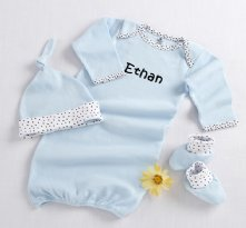 Welcome Home Baby! 3-Piece Layette Set in Keepsake Gift Box (Blue)
