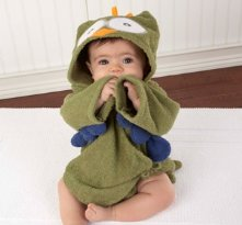 My Little Night Owl Hooded Terry Spa Robe Green - Baby shower present