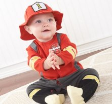 Big Dreamzzz Baby Firefighter Two-Piece Layette Set in Firefighter themed Gift Box