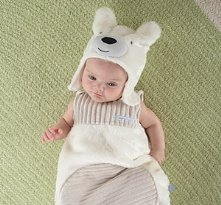 Beary Snuggly Luxe Polar Bear Snuggle Sack and Hat
