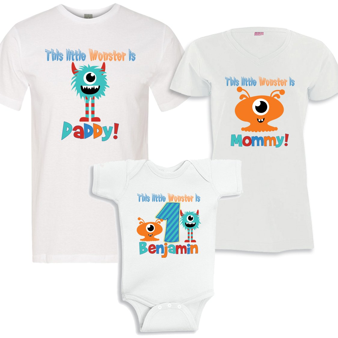 Personalized This Little Monster Birthday Boy Mom And Daddy Matching Shirts