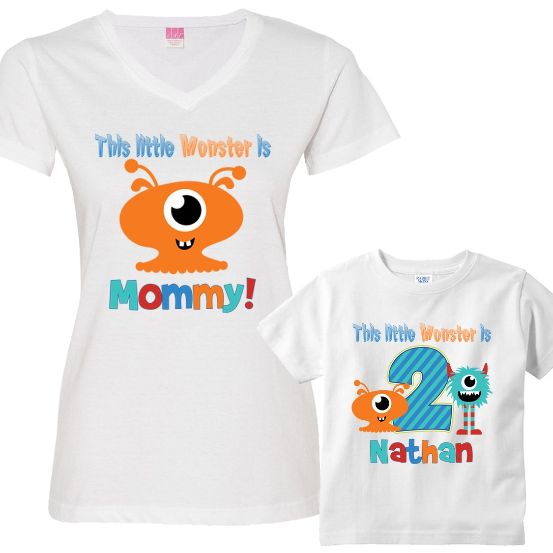 Personalized Set This Little Monster Birthday Boy Shirts For Mom And Son