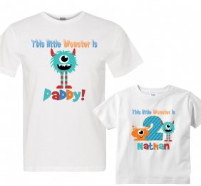 Personalized Set This Little Monster Birthday Boy Shirts for Dad and Son