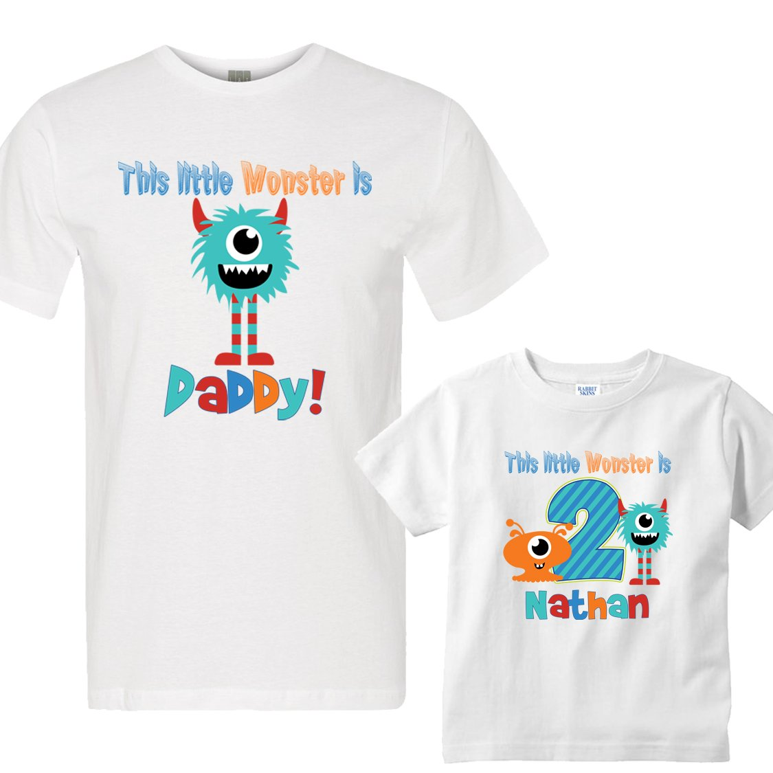 19f80e2a Personalized Set This Little Monster Birthday Boy Shirts for Dad and Son