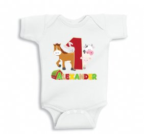 Farm Birthday Party Personalized Baby Bodysuit