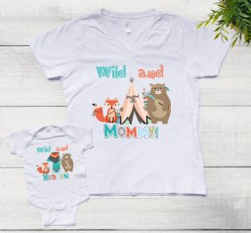 Personalized Set Wild Woodland Birthday Boy Shirts for Mom and Son