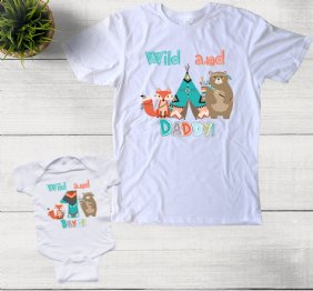 Personalized Set Wild Woodland Birthday Boy Shirts for Dad and Son
