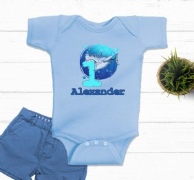1st Birthday Shark Attack Personalized Birthday Boy Bodysuit