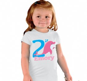 2 Years Birthday Girl Pinky Dolphin Shirt