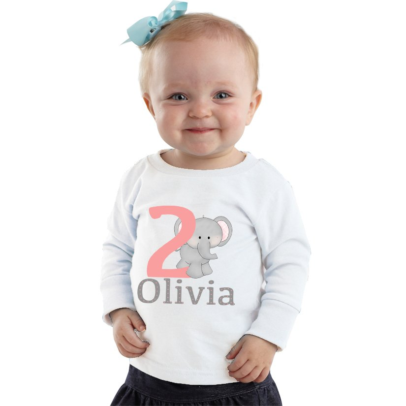 2 Year Old Elephant Birthday Girl Personalized Shirt