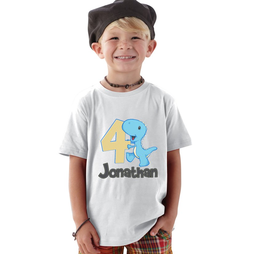 Personalized 4 Year Old Blue Dino Birthday Boy Shirt