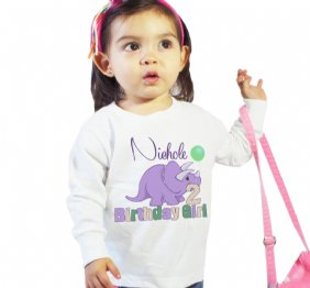 Birthday Girl old Dino girl shirt or Baby Bodysuit