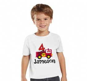 Personalized Birthday Boy Fire Truck theme Shirt