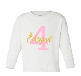 Birthday Girl Long Sleeve T-Shirt Glitter Gold and Pink