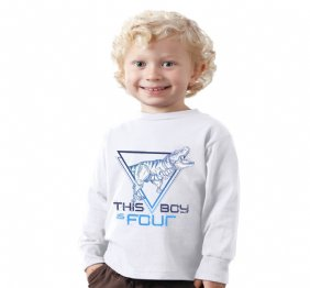 This Boy is Tyrannous Personalized Birthday Boy Long Sleeve Shirt