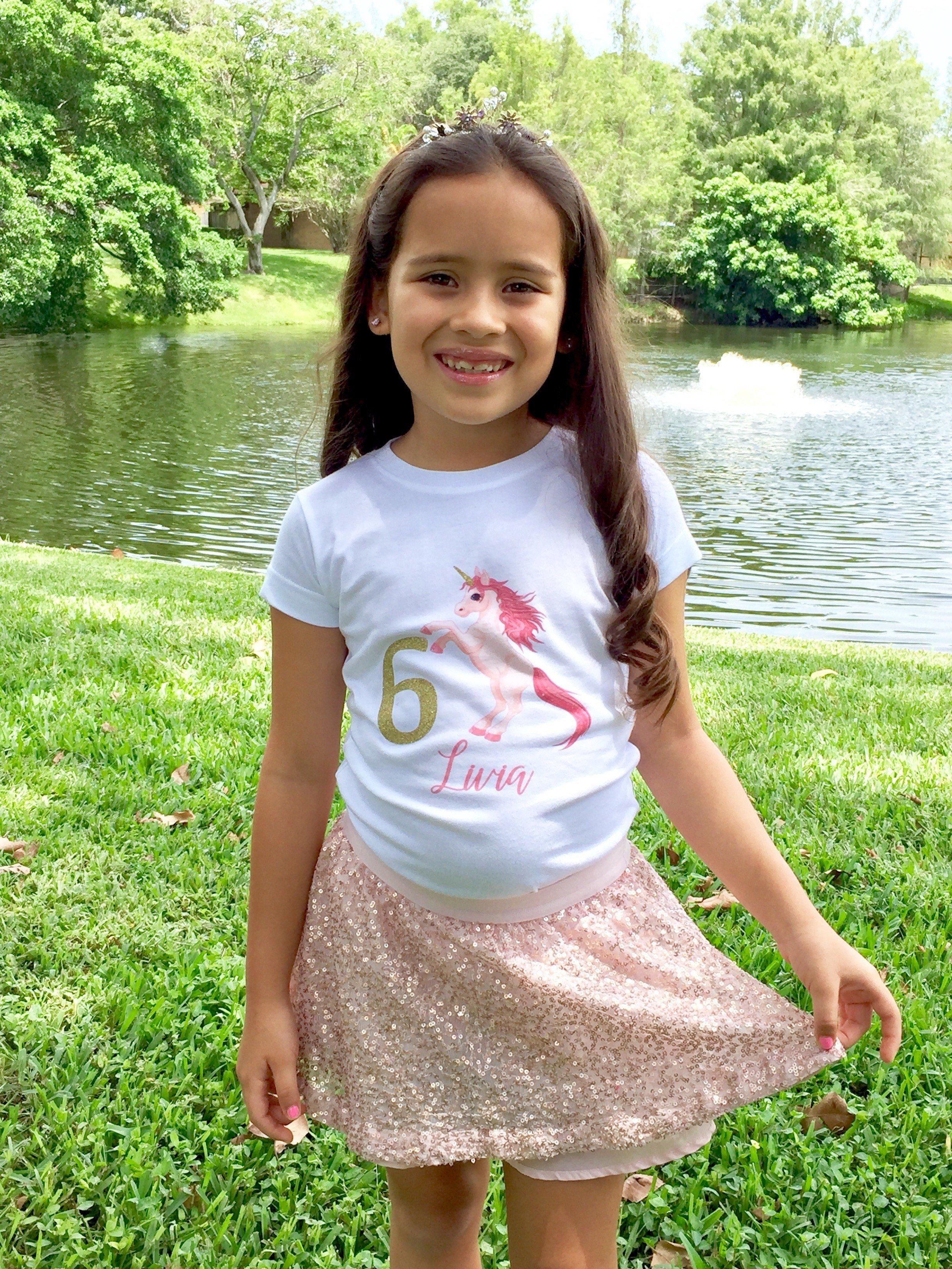 Personalized UNICORN Birthday Girl Gold Glitter T Shirt