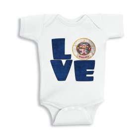 Love MINNESOTA baby bodysuit or Kids Shirt