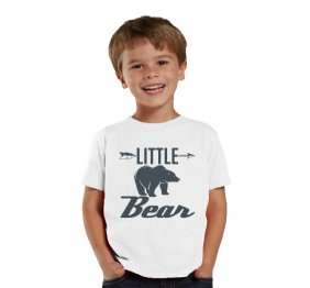 Charcoal Little Bear White Shirt