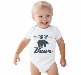 Charcoal Baby Bear White Shirt