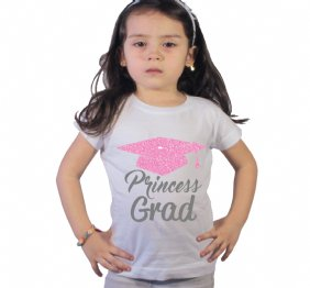 Princess Grad Pink Glitter Pre-Kindergarten graduation Girl Shirt
