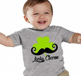 Lucky Charm Mustache Shamrock Boy HEATHER Shirt