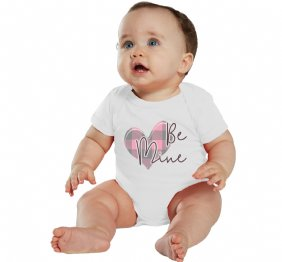 Be Mine Valentine Pink Plaid Heart Girl Bodysuit or Shirt