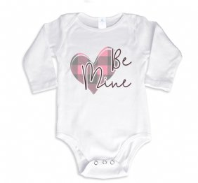 Be Mine Valentine Pink Plaid Heart Long Sleeve Bodysuit