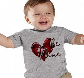 Be Mine Valentine Buffalo Plaid Heart kids Shirt