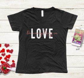 Do Everything in Love Ladies V-Neck T-Shirt