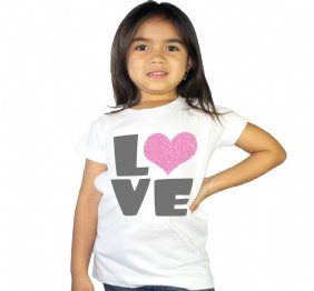 Love Pink Heart Glitter Kids Shirt for Girls or Baby Bodysuits