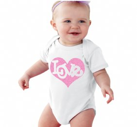 Love Inside Pink Glitter Heart Valentines Baby bodysuit Red