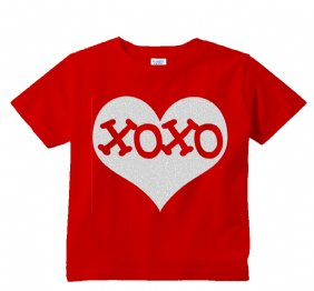 XOXO Inside Silver Glitter Heart Red Shirt for Kids