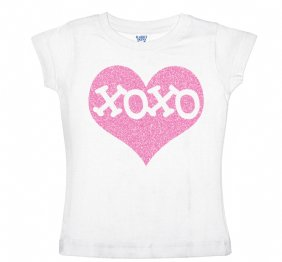 XOXO Inside Pink Glitter Heart Red Shirt for Kids