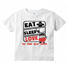 Eat Sleep Love Ninja Valentines White KIds Shirt