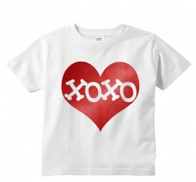 XOXO Inside Electric Red Heart Valentines Kids Shirt