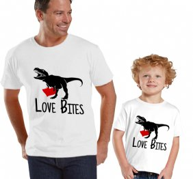 Love Bites T-Rex Daddy and Me Matching Shirts