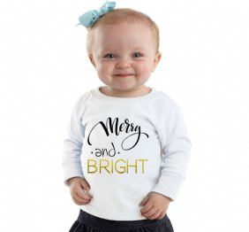 Merry and Bright Girls Long Sleeve t-shirt