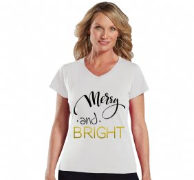 Merry and Bright Women Modern V-Neck Fit Shirt