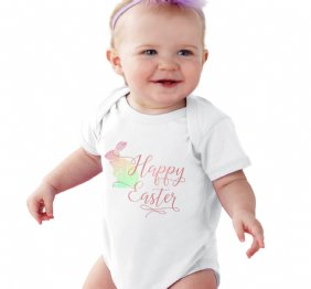 Happy Easter Watercolor Bunny Shirt or Bodysuit