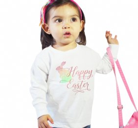 Happy Easter Watercolor Bunny Long Sleeve Shirt