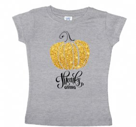 Thanks Giving Gold Pumpkin Heather Shirt or Bodysuit for Girls