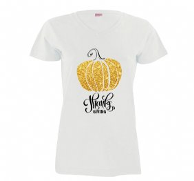 Thanks Giving Gold Pumpkin Women Shirt