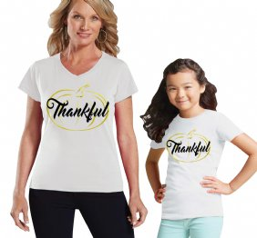 Thankful Gold Pumpkin Mommy and Me Matching Set