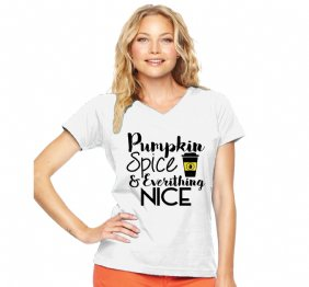 Pumpkin Spice Late and Everything Nice Modern Fit V-Neck Shirt